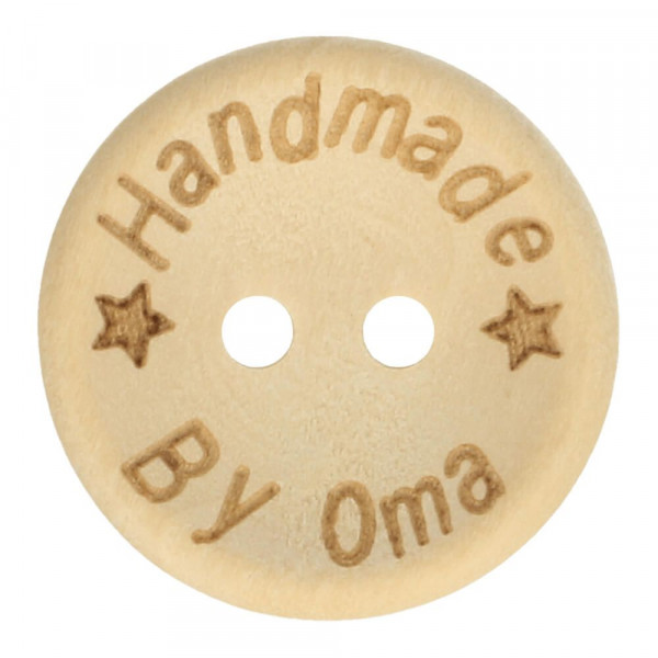 """Holzknopf """"Handmade by Oma"""" - 20 mm"""