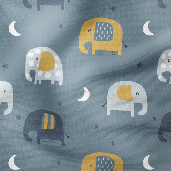 Bio-French Terry - Dreamy Elephants - rauchblau
