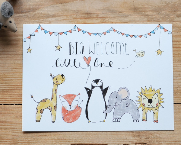 """Postkarte """"Big welcome, little one"""" - Iloveyoulaugh"""
