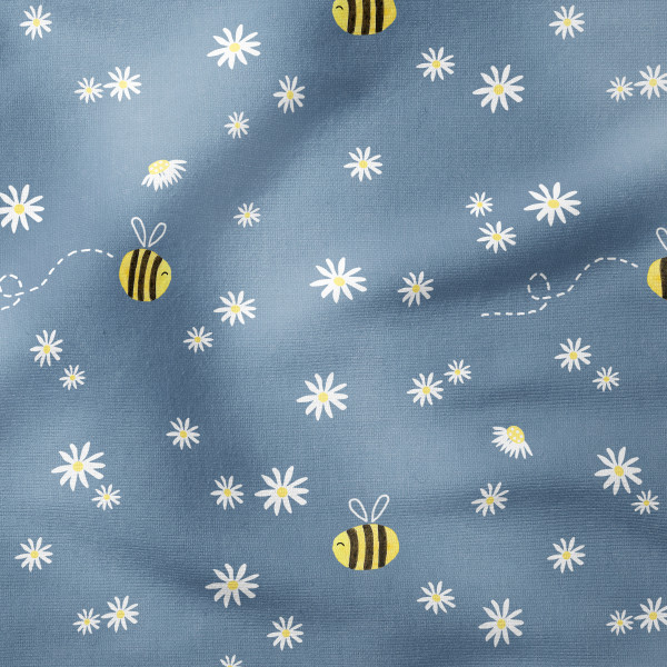 French Terry - Buzzy Bees dusky blue