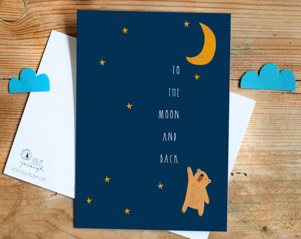 """Postkarte """"to the moon and back"""" - Iloveyoulaugh"""