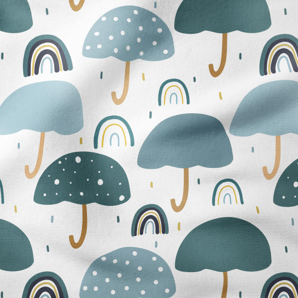 French Terry - Spring Showers teal