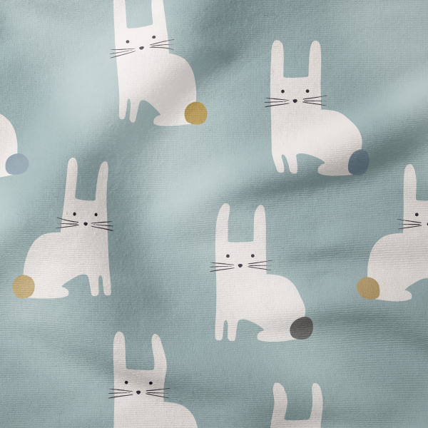 French Terry - Little Rabbits teal