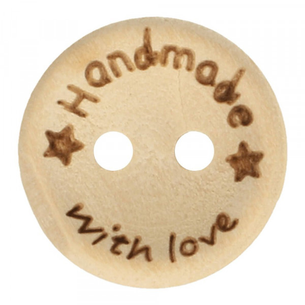 "Holzknopf ""Handmade with love"" - Sterne - 15 mm"