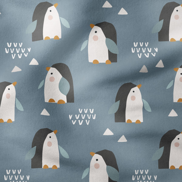 French Terry - Pinguine hellblau